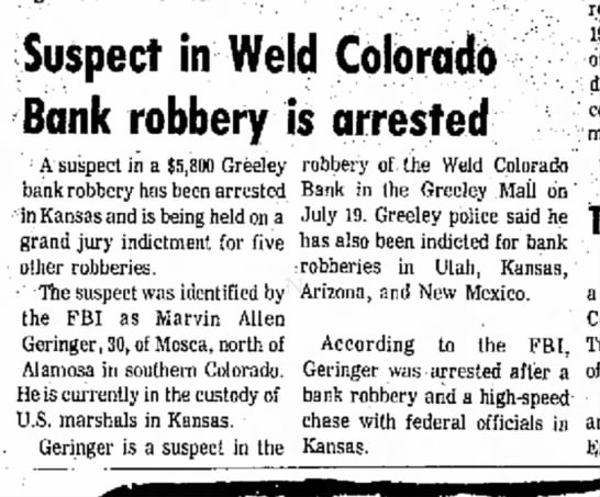 - Suspect in Weld Colorado Bank robbery is...
