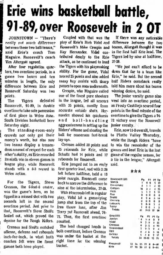 Steve Creason - Erie wins basketball battle, 91-89, over...