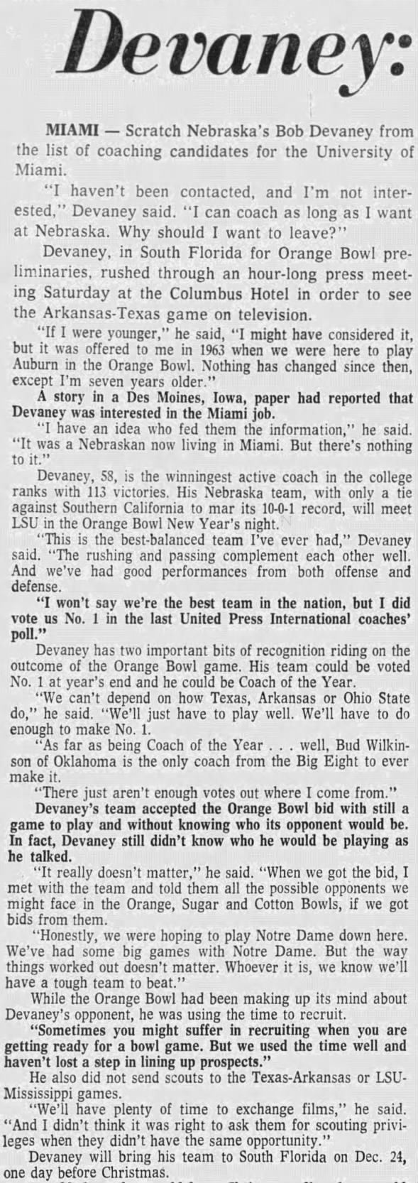 1970 Devaney no interest in Miami job