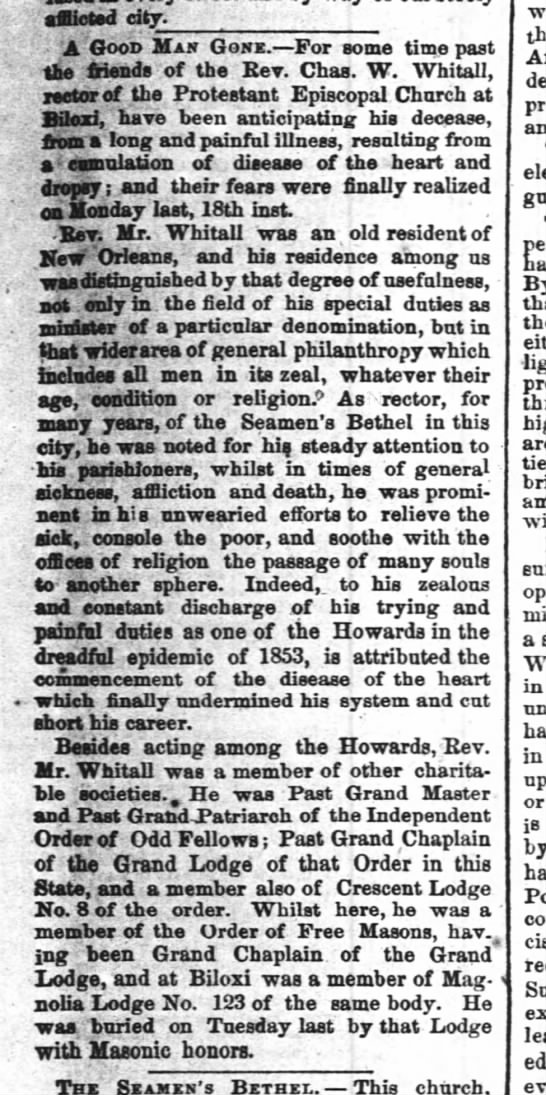 "The Times-Picayune (New Orleans, LA) October 22, 1858. Charles W. Whitall, death and obituary - afflicted city. ; - ."". A Good Man Gone. For..."