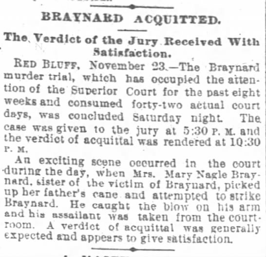 SF Chronicle 24 Nov 1891 - BRATNAHD ACQUITTED The Verdict of the Jury...