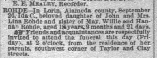 Ida C Rohde Obituary