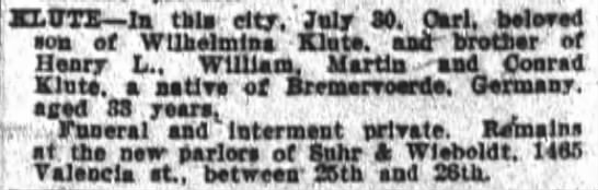 Carl Klute obituary 