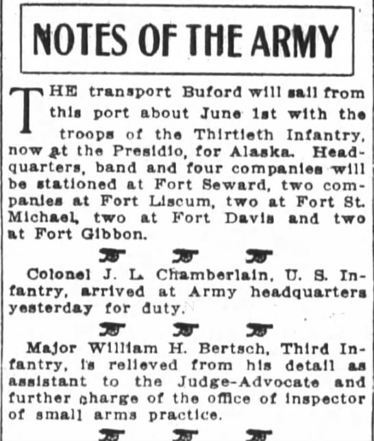 San Francisco ChronicleApril 3, 1912 - NOTES OF THE ARMY V HE transport Buford will...