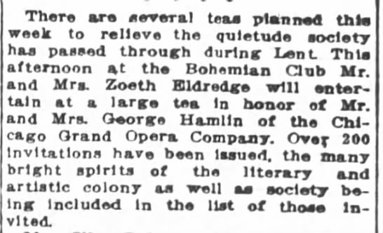 Z. Eldredge SF Chronicle 24 Mar 1913 - There are several teas planned this week to...