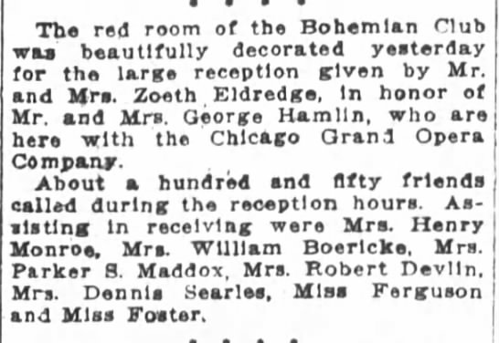 Eldredge: SF Cronicle 25 Mar 1913 - The red room of the Bohemian Club was...