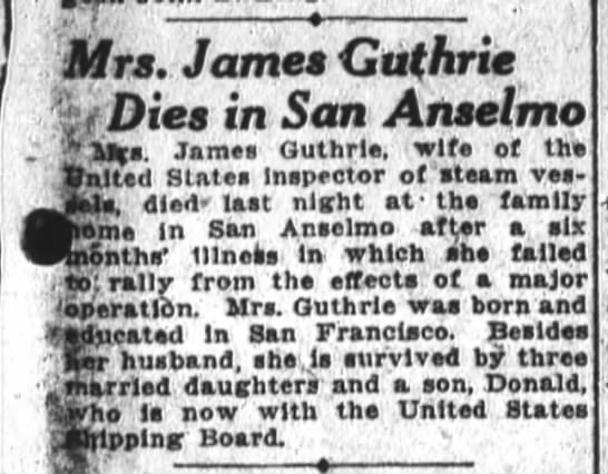 SF Chronicle 27 June 1919 - Qtf - - 1 J - Mrs - James Guthrie iDies in San...