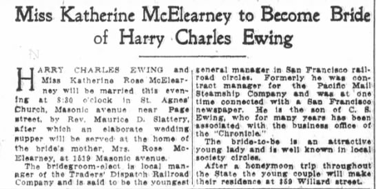 - Miss Katherinc McEIearney to Become Bride of...