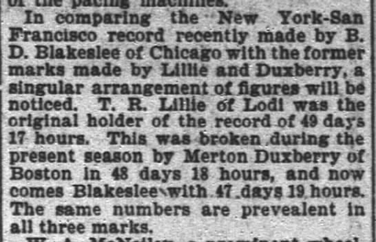 Blakeslee, other record marks, SF Chron, 23 Nov 1895, p. 11 - In comparing the - New York - San Francisco...