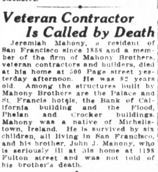 Jeremiah Mahony death notice - Veteran Contractor Is Called by Death Jeremiah...