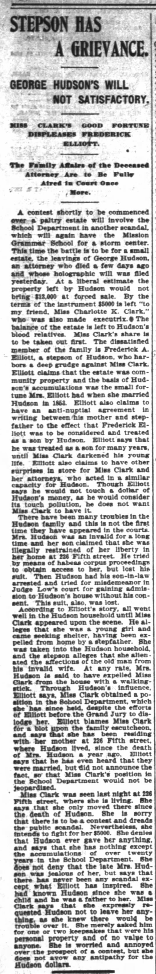 San Francisco Chronicles, San Francisco, CA 28 Apr 1898 - STEPSON MS fjs A GRIEVANCE GEORGE HUDSONS WILL...