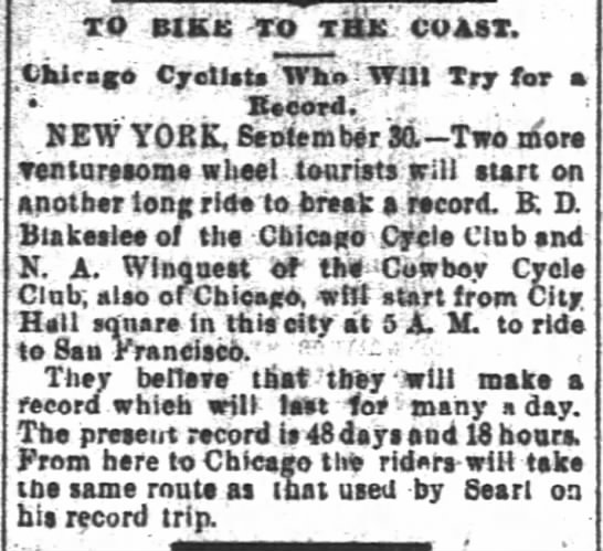 Blakeslee, SF Chron, 1 Oct 1895, p. 4, col 2