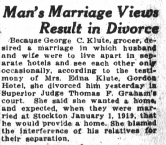 George C & Edna Klute divorce