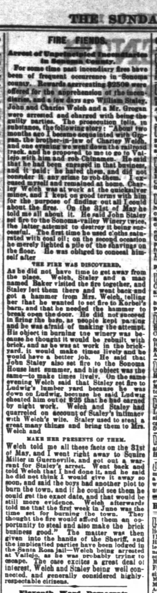 S.F. Chronicle Jun 8 1879 Charles Welch troubles - I Tar I'w Iw Pia. Pia ' Tar I'w Iw Pia. Pia '...