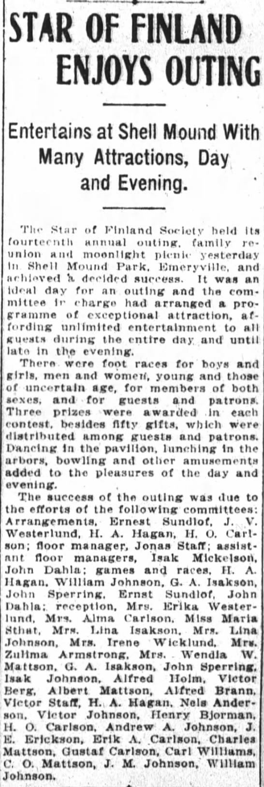 John Dahla - SF Chronicle 27 Apr 1908 - STAR OF FINLAND ENJOYS OUTING Entertains at...