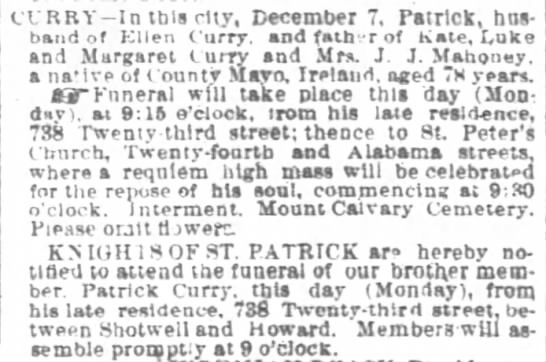 Patrick Curry Obituary SF Chronicle - ctRBY - ln tbisctvy December 7 Patrick husband...