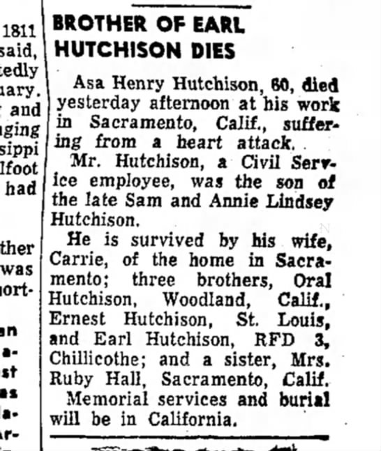 Brother of Granpa Earl Hutchison? Names parents - 1811 said, am had was an BROTHER OF EARL...