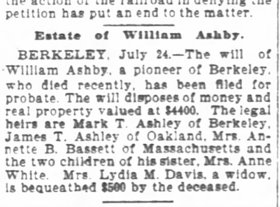 William T. Ashby Obit - petition has put an end to the matter Estate of...