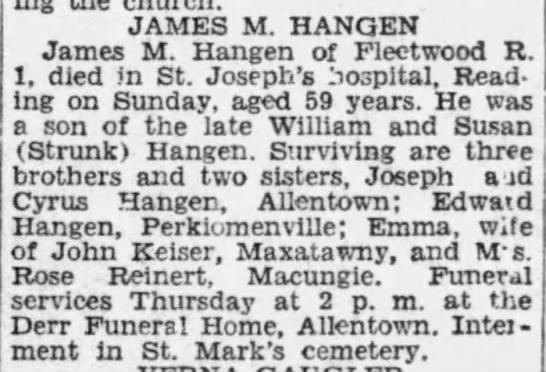James M Hangen - JAMES M. HANGEN James M. Hangen of Fleetwood R....