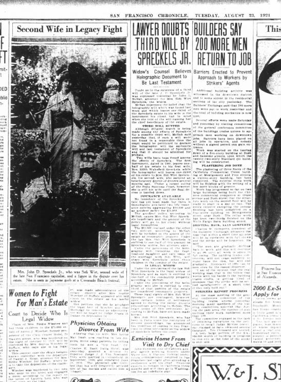 Sidi Wirt as Spreckels heiress - SAN FRANCISCO CUBONICLE TUESDAY AUGUST 23 1021...