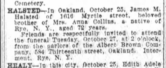 Anna Collins possible relation. - Cemetery HALSTID - rln Oakland October 88 Jimea...