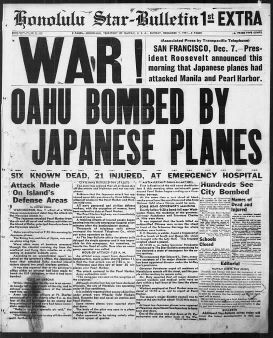 Star-Bulletin covers the bombings at Pearl Harbor, 1st Extra - r MM tmsss- tmsss- nmmlm wmmk EvtBBf Bulletin....