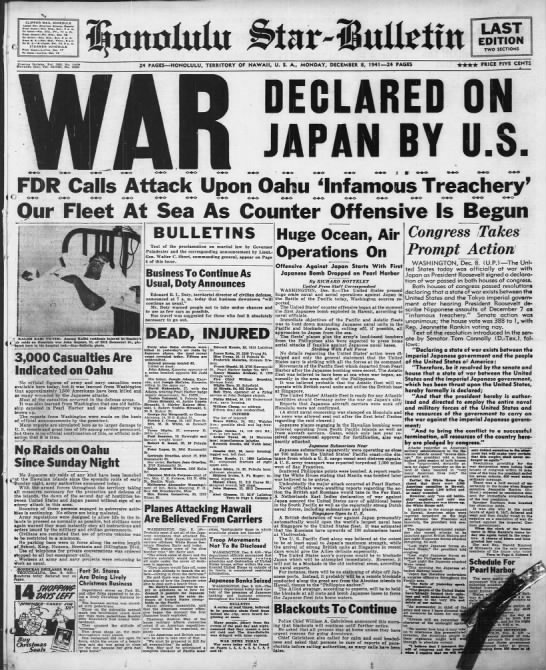 War Declared On Japan By U.S. - 0 CLIPPER MAIL SCHEDULE Lata eaa mkM AItmh...