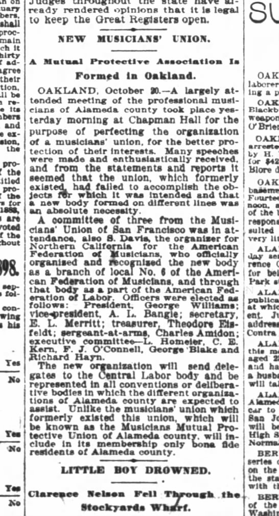 1898 October 21 Musicians Union - on ahall proclamation remain it thirty...