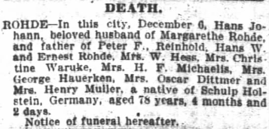 HJ Rohde Obituary
