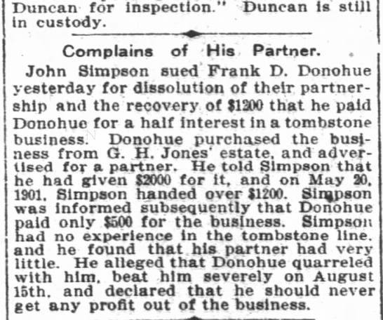 Frank D Donohue - Duncan - for inspection - Duncan la still in...