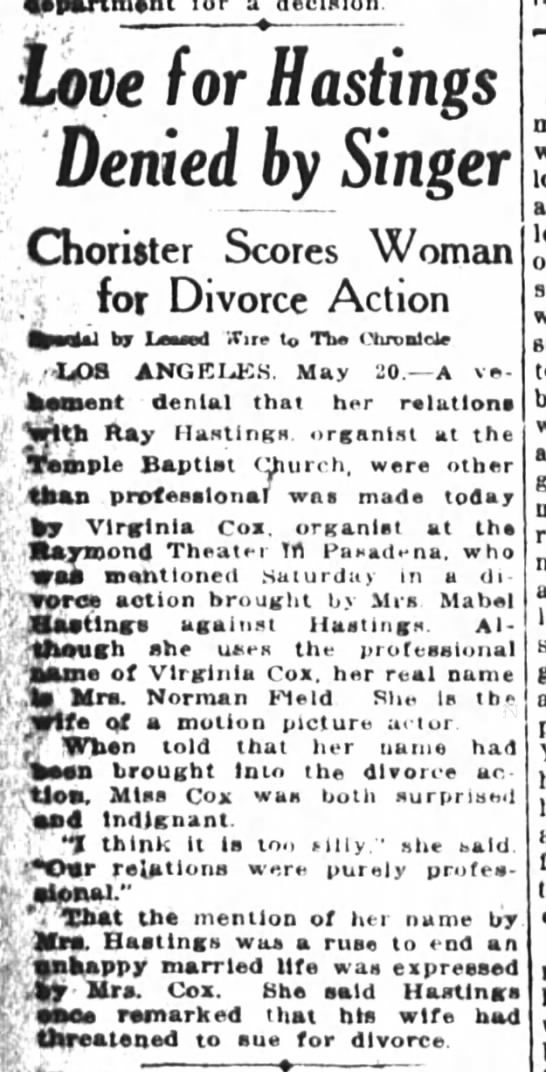 San Francisco Chronicle 21 May 1923 - e Love for Hastings Denied by Singer Chorister...