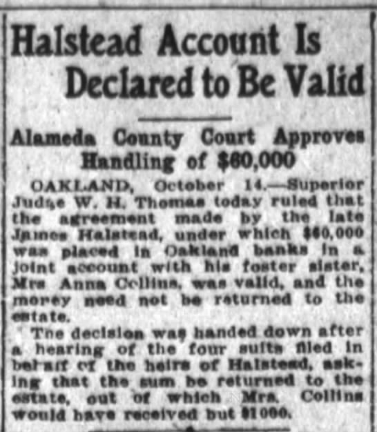 Anna Collins possible link with James Halstead - Halstead Account Is Declared toBe Valid Alunet...