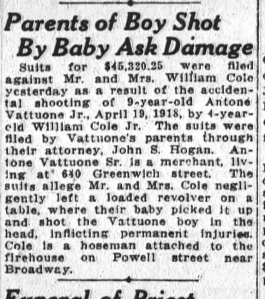Parents of Boy Shot by Baby ask damages - Antone Vattuone Jr. Apr 19 1918
