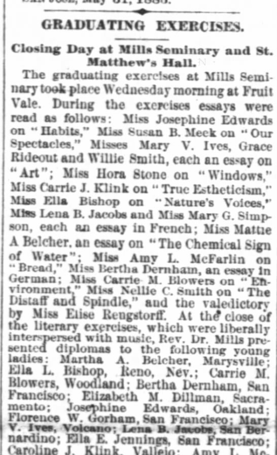 Graduating Exercises 1 June 1883 SF Chronicle - a GRADCAT10 EXEECIsES Closing Day at Mills...