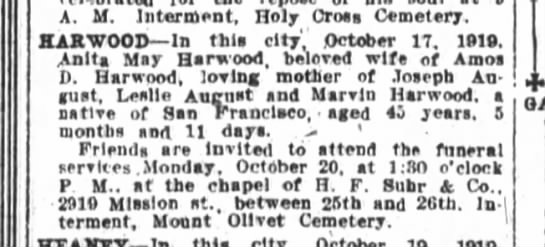 Anita Fonseca Harwood obit - A M Interment Holy Cross Cemetery HARWOOD In...