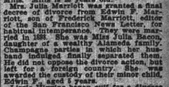 - Mrs Julia Marriott was granted a final decree...