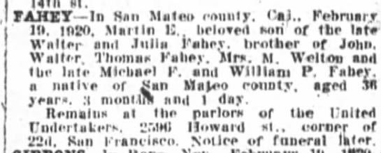Mart E Fahey Obit 20 Feb 1920 - J FAHET In Han Mateo roiiuly Cal February 1ft...