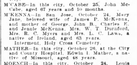 Mary Jane Elliott McKenna Obit - MCABE In this city October 26 John McCabe...