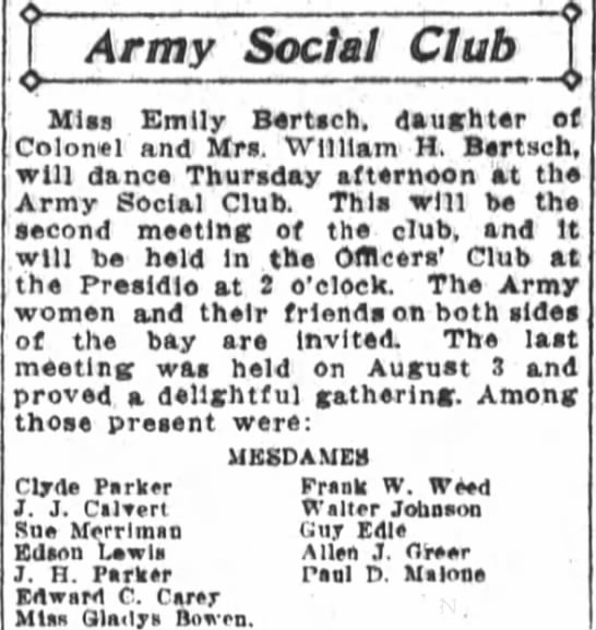 - Army Social Club Mlaa Emily Bertach daughter of...