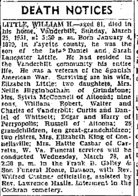 william h little obit - better clip of page 2 the evening standard march 26 1951 - was Sarah assistant DEATH NOTICES 1TTLE,...