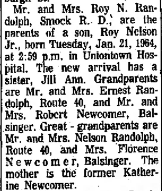 Roy Nelson Randolph Jr Announcement - Mr. and Mrs. Roy N. Randolph, Smock R. D., v...