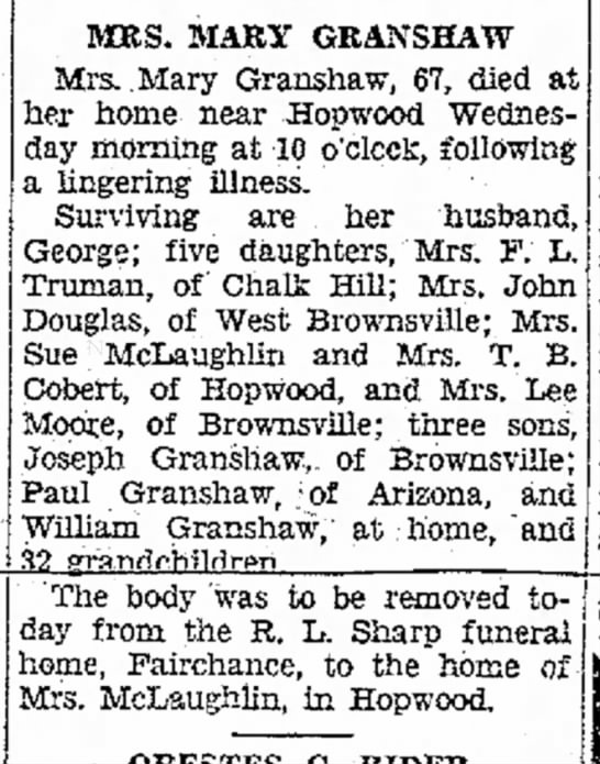 Mary Granshaw obit - of of staff in with rising MRS. MARY GRANSHAW...