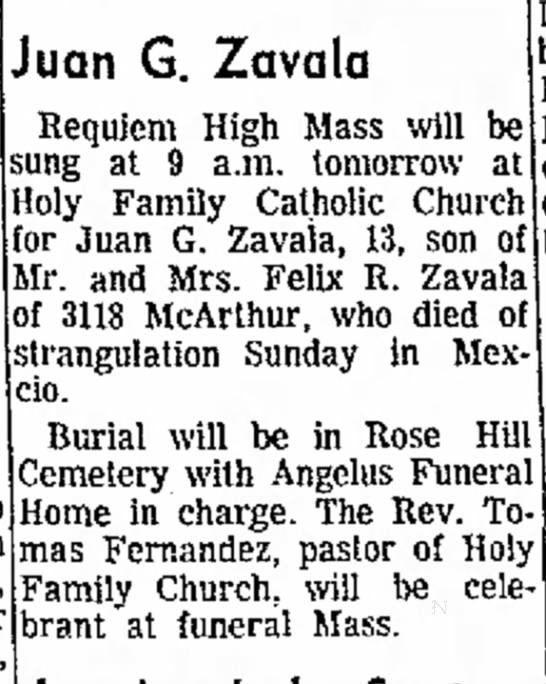 Juan G. Zavala 1964 - Home, Mar- to in Juan G. Zavala 1 Requiem High...