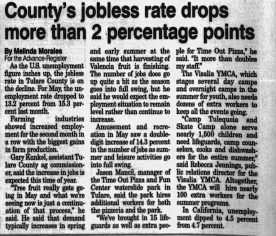 Rebecca Jennings, Visalia YMCA PR Director - County's jobless rate drops more than 2...