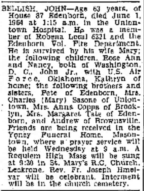 John Bellish Obituary