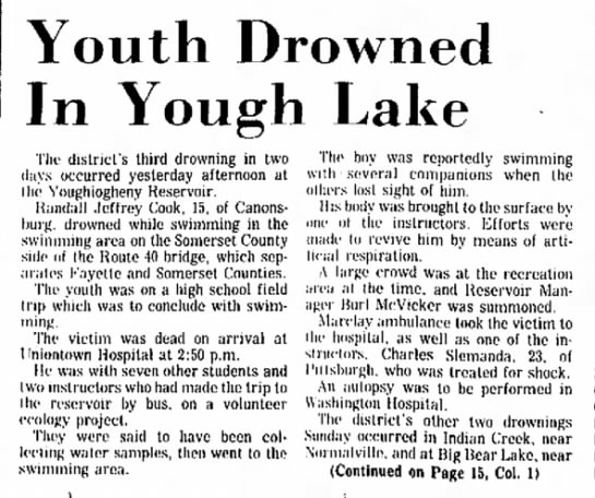 Randall Jeffrey Cook - Youth Drowned In Yough Lake the superintendent...