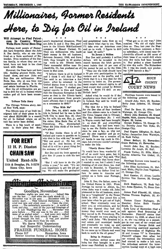 Dee Family History 1 Dec 1949 - fab Gd Win Attempt to Find Petrol earn In...
