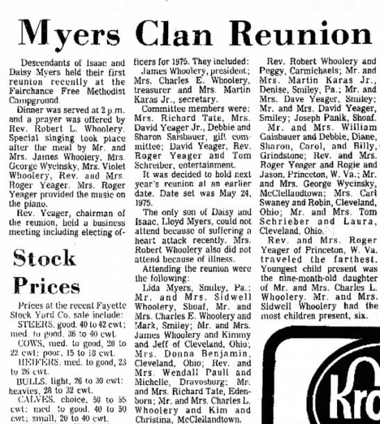 Myers Reunion 07 Sept 1874 - Myers Clan Reunion Descendants of Isaac and...
