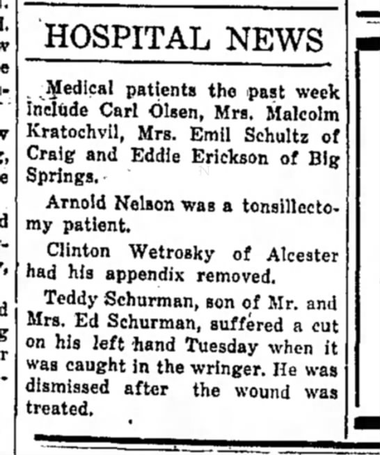 The Independent Hawarden, Iowa 23 November 1950 - HOSPITAL NEWS .Medical patients the past week...