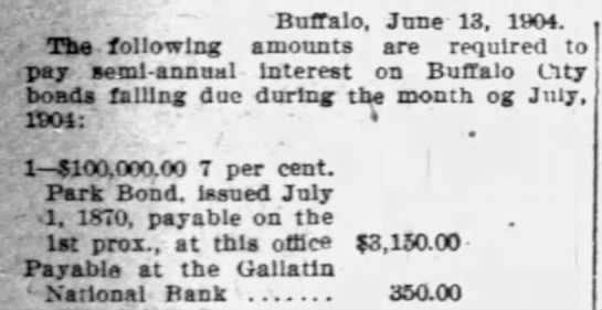 "Example of ""prox."" being used to refer to the following month - Buffalo. June 13, 1904. Tha following amounts..."